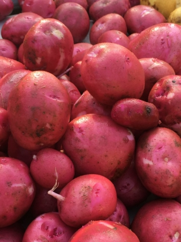 freshly washed red potatoes